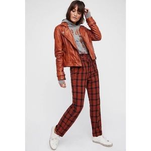 Free People Here and There Plaid High Waist Pants